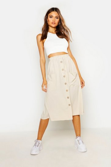 Womens Stone Button Front Midi Skirt