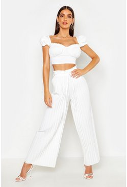 Womens Ivory Pleated Tie Waist Wide Leg Trousers