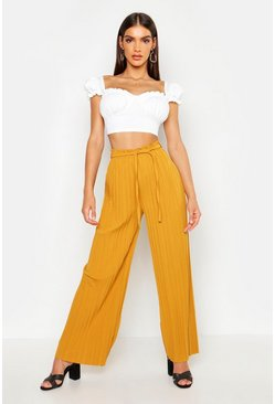 Mustard Pleated Tie Waist Wide Leg Trousers