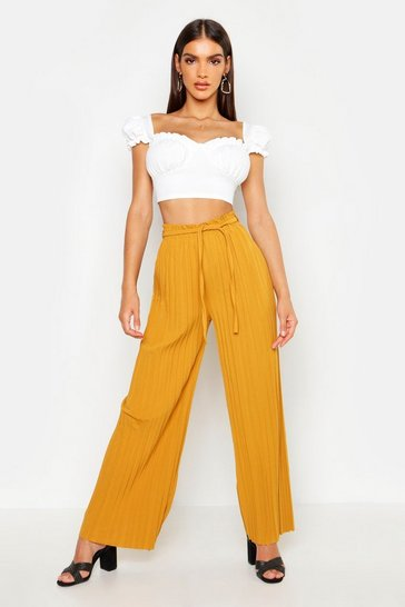 Womens Mustard Pleated Tie Waist Wide Leg Trousers