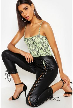 Black Wet Look Lace Up Front Leggings