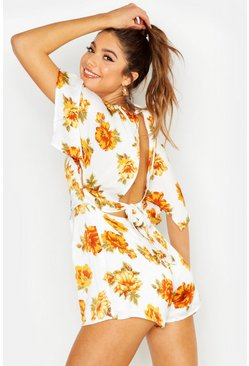 Ivory Floral Tie Back Playsuit