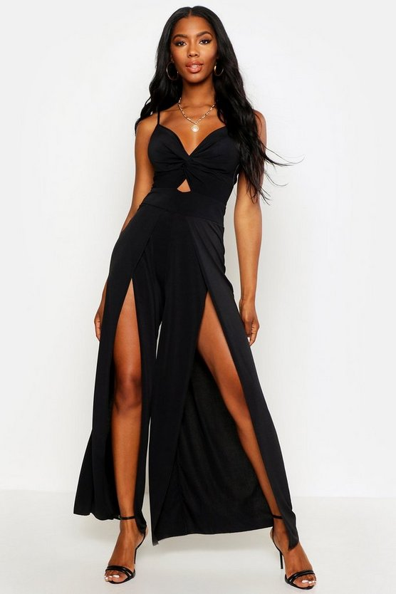 Black Twist Front Split Leg Jumpsuit