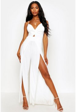Womens White Twist Front Split Leg Jumpsuit