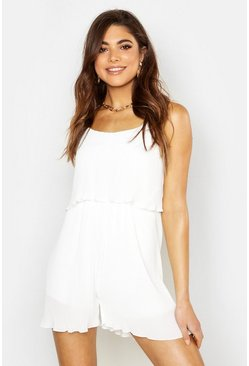 Womens Ivory Pleated Cami Woven Romper