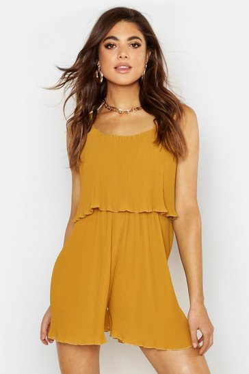 Womens Mustard Pleated Cami Woven Playsuit