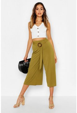 Womens Olive Horn O Ring Ribbed Culottes