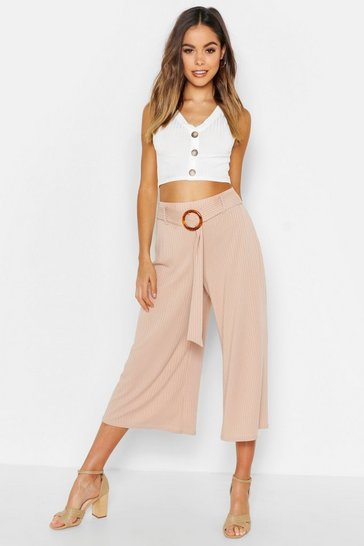 Womens Sand Horn O Ring Ribbed Culottes