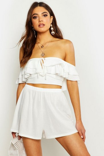 Womens White Linen Look Flippy Short