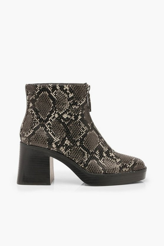 Zip Front Snake Chunky Boots