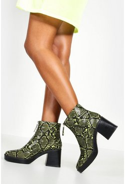 Lime Zip Front Snake Chunky Boots