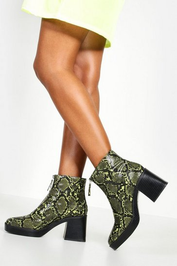 Womens Lime Zip Front Snake Chunky Boots