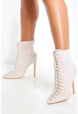 Womens Grey Lace Front Pointed Shoe Boots