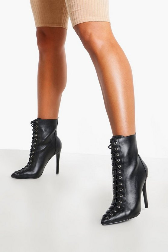 Lace Front Pointed Shoe Boots