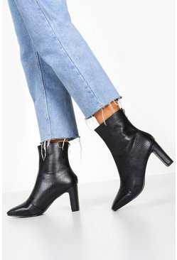 Womens Black Snake Low Heel Shoe Boots
