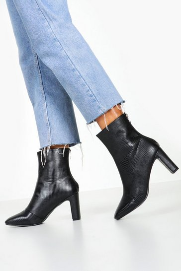 Black Snake Low Heel Shoe Boots