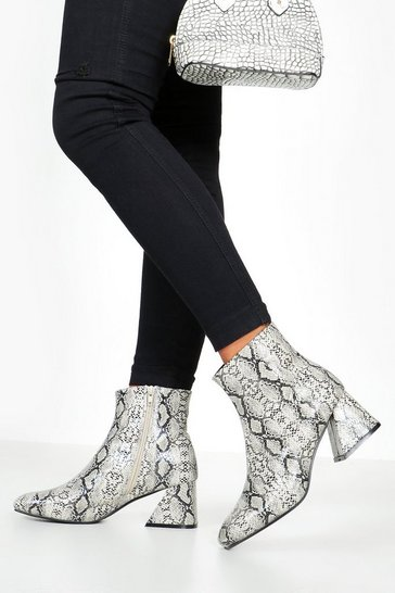 Womens Grey Snake Low Flare Heel Shoe Boots