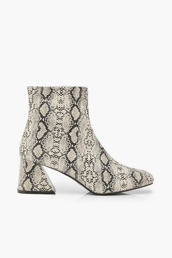 Snake Low Flare Heel Shoe Boots