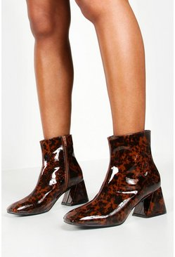 Womens Brown Tortoise Flare Heel Shoe Boots