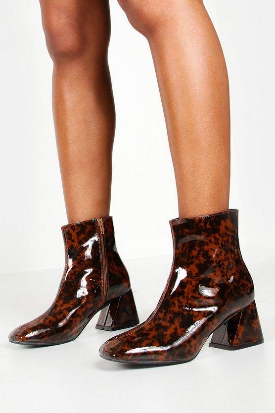 Tortoise Flare Heel Shoe Boots