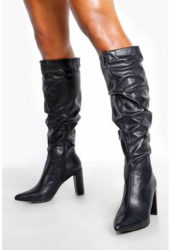 Womens Black Block Heel Rouched Knee Boots