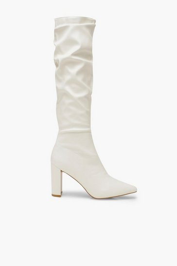 White Block Heel Rouched Knee Boots