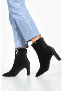 Womens Black Cord Low Heel Shoe Boots
