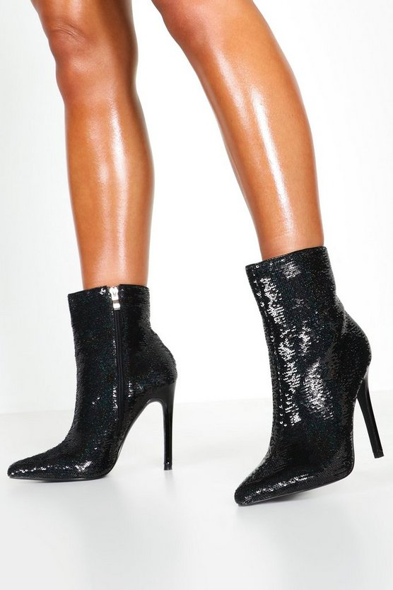 Black Sequin Pointed Shoe Boots