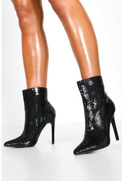 Womens Black Sequin Pointed Shoe Boots
