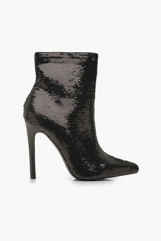 Sequin Pointed Shoe Boots