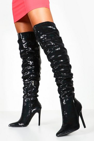 Womens Black Sequin Rouched Knee Boots
