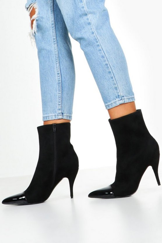 Black Toe Cap Pointed Shoe Boots