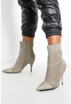 Womens Grey Toe Cap Pointed Shoe Boots
