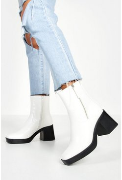 Womens White Zip Side Chunky Sole Boots
