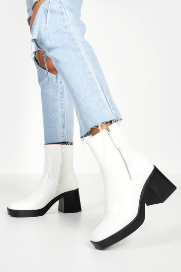 White Zip Side Chunky Sole Boots