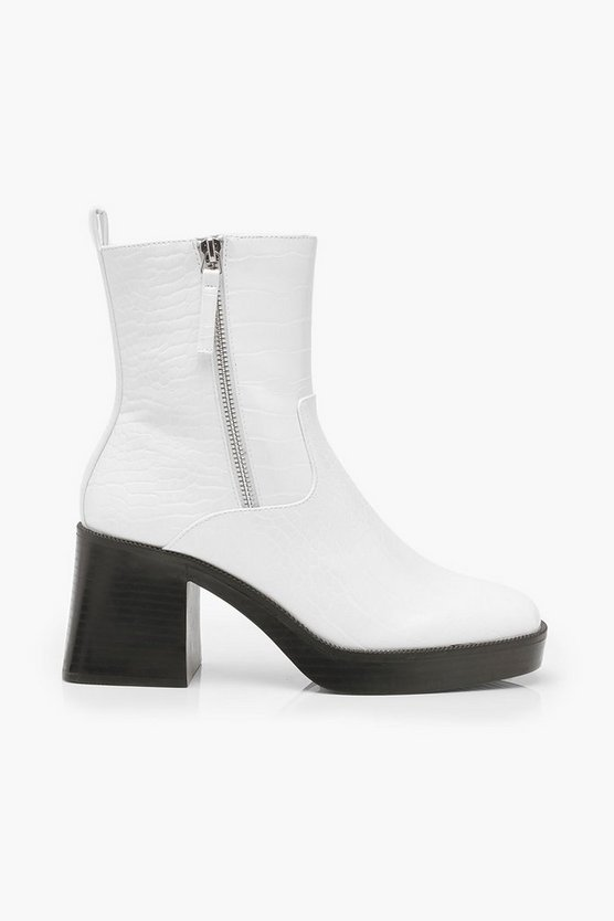 Zip Side Chunky Sole Boots