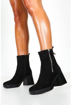 Womens Black Zip Side Chunky Sole Boots