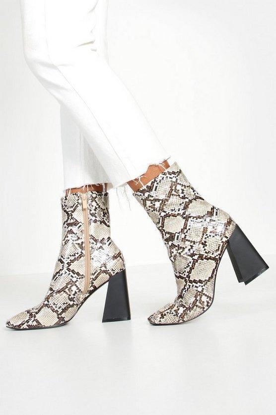 Snake Flared Heel Sock Boots