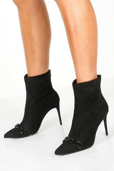 Womens Black Chain Trim Pointed Shoe Boots