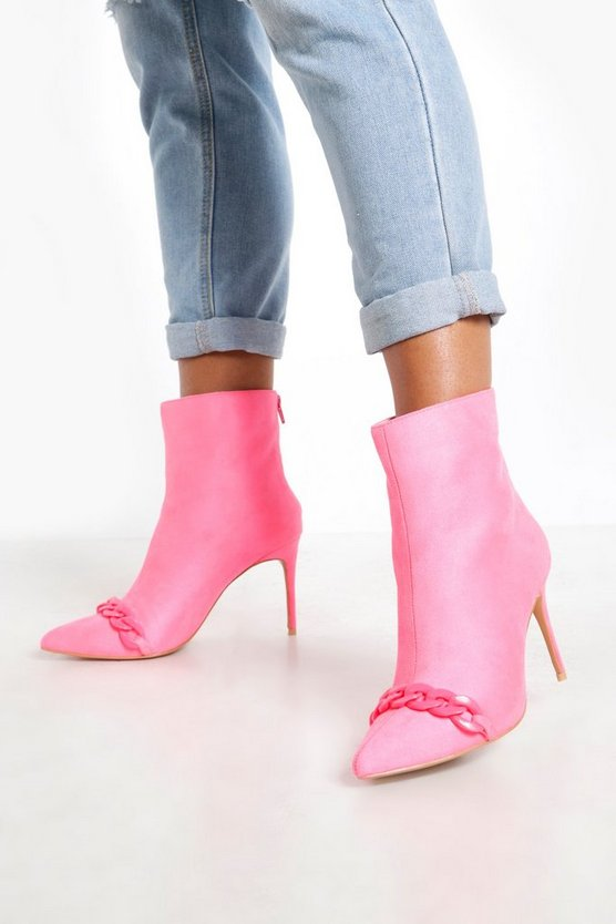 Pink Chain Trim Pointed Shoe Boots