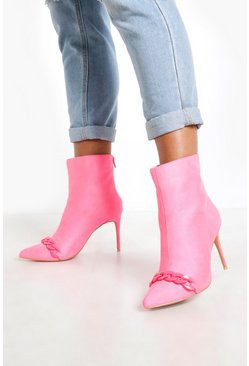 Womens Pink Chain Trim Pointed Shoe Boots