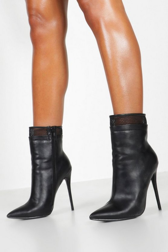 Mesh Insert Stiletto Shoe Boots
