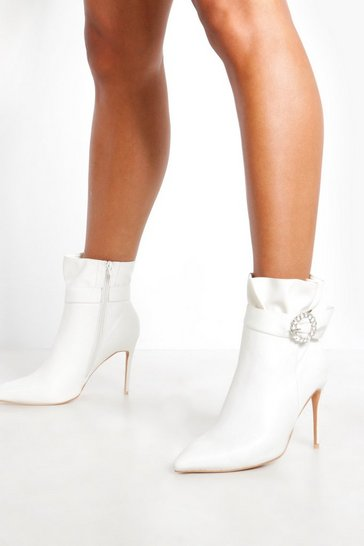 Womens White Diamante Buckle Shoe Boots