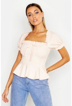 Womens Blush Ruffle Detail Square Neck Peplum Top