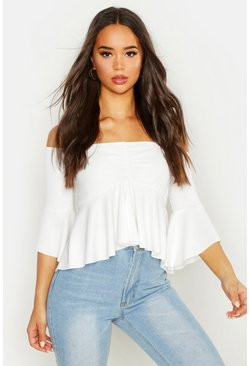 White Crepe Off The Shoulder Ruffle Crop Top