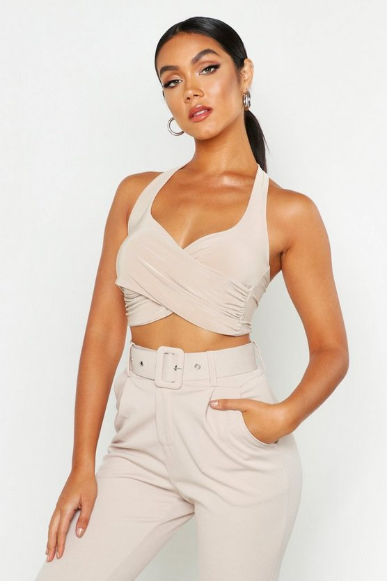 Wrap Front Bralet by Boohoo