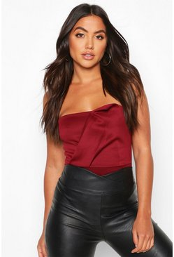 Womens Berry Bandeau Wrap Detail Bodysuit