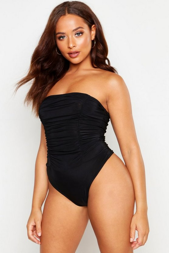 Womens Black Slinky Bandeau Ruched Bodysuit