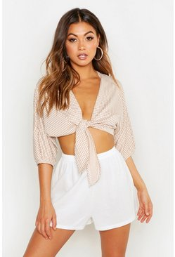 Womens Sand Gingham Tie Front Top