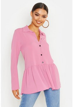 Womens Mauve Peplum Shirt
